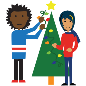 boy and girl with tree and lights